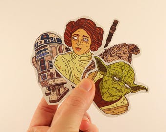 star wars stickers laptop labels tags illustration