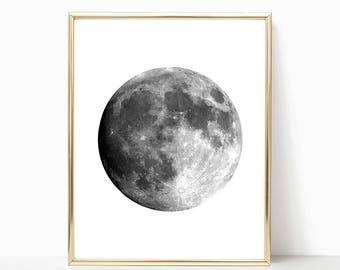 SALE -50% Moon Digital Print Instant Art INSTANT DOWNLOAD Printable Wall Decor