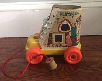 Vintage Playskool Wooden Shoe On Wheels Seventies Pull Toy