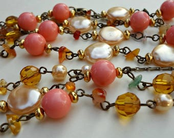 Vintage Chain Beaded Necklace / 60 Inches / Great Textures / Lightweight / Vintage 1960s / Amber Salmon Cream Colors (C3)