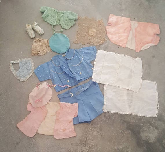 vintage baby clothes, lot of vintage baby items