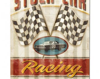 "Stock Car Racing corrugated vintage style metal sign, racing man cave garage decor approx. 16"" x 24"""
