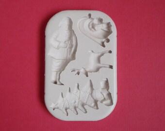 Moule silicone Noël type 2 pour décoration loisirs créatifs scrapbooking Fimo