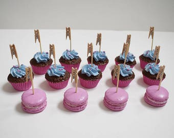 Pink and blue set of 10 Cupcakes and macaroons 4 place cards