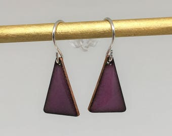 Purple triangle enamel earrings hand made simple colorful  geometric earrings