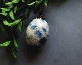 Dragon Egg Necklace, Romantic Long Bohemian Necklace, Retro Blue, Ceramic, Elvish, Blue Boho Ceramic Egg Necklace