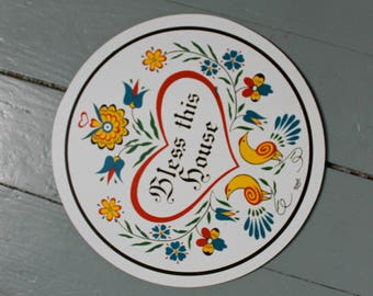 PA Dutch... Bless This House Hex, Round Sign, Home Decor, Vintage Home