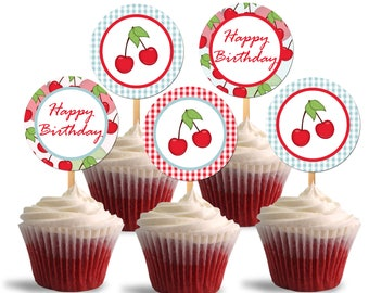 Sweet Cherry Cupcake Toppers, Birthday Printable Cupcake Toppers, Cherry Theme Party Decorations - Instant Download - DP500