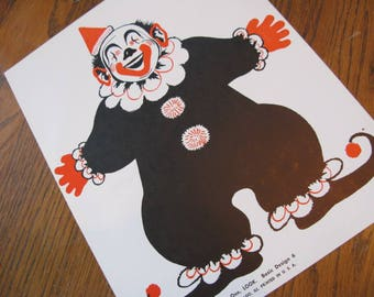 Big 1968 Happy CLOWN Picture Flash Card, 8 x 10 For XL  Gift Tag from Santa, Frame Child's Nursery, Playroom Vtg Christmas Toy Display, More