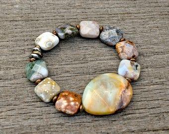 Faceted Ocean Jasper & Amazonite Bracelet