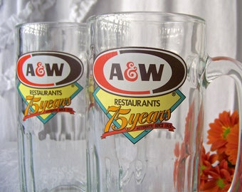 Vintage A & W Root Beer Mug Set of Two 75 Year Anniversary Mug Root Beer Float Fountain Drink Backyard BBQ Family Fun Fourth of July 1994