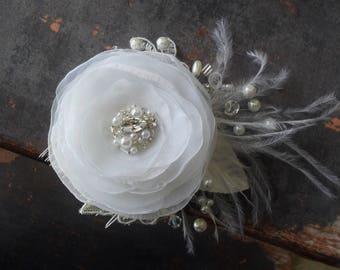Bridal Hairpiece, Wedding Hair Accessory, Bridal Hair Flower, Wedding Hair Comb,Lace Headpiece,Vintage Style Hairpiece, Rhinestone Headpiece