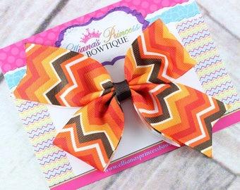 Baby Bows, Toddler Bows, Girls Hair Bows, Hair Clip, Fall Hair Bow, Thanksgiving Hair Bow Headband, Brown Orange Red Hair Bow, 5 Inch Bow