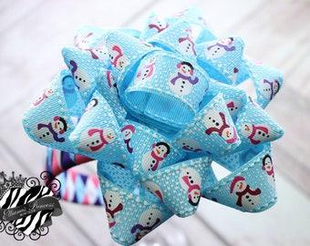 Baby Bows, Toddler Bows, Girls Hair Bows, Woven Headband Bow, Christmas Headband Bow, Holiday Headband Bow, Snowman Headband Bow, Gift Bow