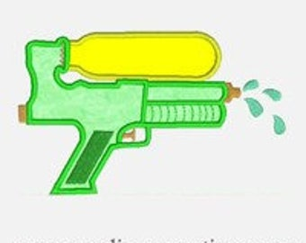 Water Gun...Embroidery Applique Design...Three sizes for multiple hoop...Item1160.
