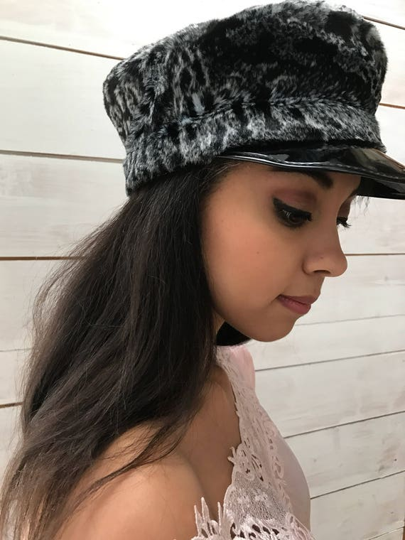 newsboy cap faux fur patent leather
