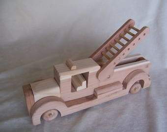 Toy Fire Truck Handcrafted from Rescued Wood