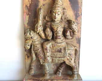 Wall Panel Carved Relief Hindu God on Horse Design Temple Cart