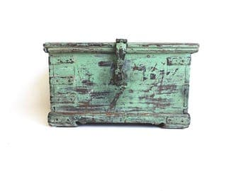 Old Painted Box Wooden Box Campaign Chest Green Box