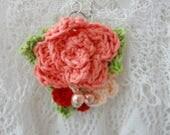 DIGITAL CROCHET PATTERN - Crochet Rose Pendant Necklace,crochet flower pattern,crocheted necklaces,crochet flowers,necklace