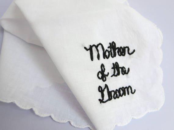Wedding Handkerchiefs For The Family: Mother Of The Groom Gift Wedding Handkerchief Grooms Mother