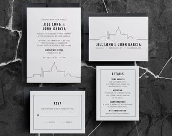 DC Wedding Invitations, Washington DC, DC Invitations, dc invite, dc event, dc reception, washington wedding, capitol, monuments