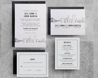 San Francisco Wedding Invitation, San Francisco Skyline Invitation, Save the Date, San Francisco Invitation, Los Angeles, Denver, New York