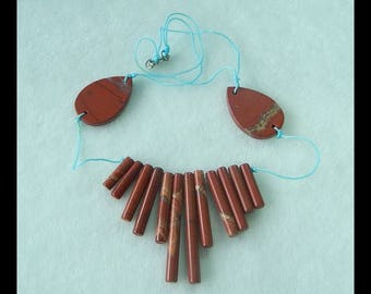 New, Red River Jasper Necklace,Necklace Beads,Water Drop And Tube Shape,24.9g(f0903)