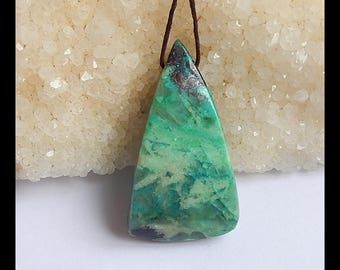 Natural Chrysocolla Gemstone Pendant Bead, 42x23x8mm,14.6g(t0113)