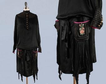 1920s Dress /20s Inky Black Liquid Satin Dress / Knife Pleat Hankie Hem / Pockets / Hot Pink Accents / Embroidery