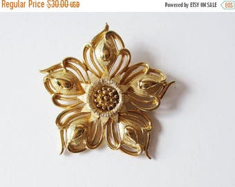 On Sale Boucher Flower Pin Gold Tone Vintage Boucher Flower Pin Brooch Mother's Day Gift