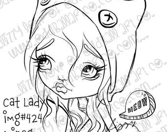 Digital Stamp Instant Download Cute & Whimsical Big Eye Girl with Cat Hood ~ Cat Lady Image No. 424 by Lizzy Love