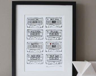 ON SALE Cassette Tape Print
