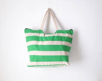 80s BEACH tote BOATING sailing bag GREEN & white striped oversize large tote bag