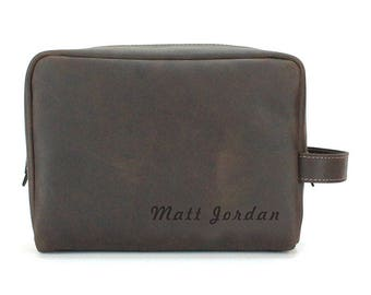 Engraved Toiletry Bag - Men Leather Dopp Kit - Oil Brown