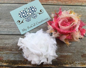 Shabby Chic Petite Flower Hair Clip Duo-No Slip Hair Clips-Ready to Ship-white and floral