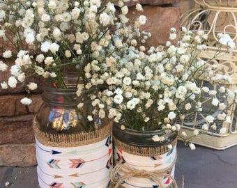 Mason Jar Wrap, Arrow, Boho, Tribal, Wedding, Shower, Party, Centerpiece, Decoration