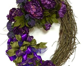"CHRISTMAS IN JULY Tuscan Floral Wreath Fall Wreath All Season Indoor Outdoor Wreath Purple & Sage Green Oval Xl 22""x34"""