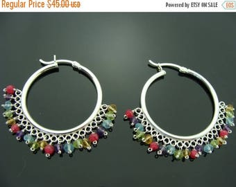 Multi Stone Hoops Sterling Silver Earrings
