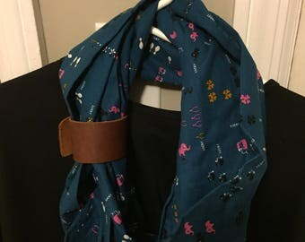 Turquoise Lucky infinity scarf with brown leather cuff. Makes a perfect gift for that fashionista in your life! gift women, valentine's gift
