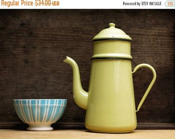 Pretty Completed French Vintage Enamel pastel yellow coffee pot, Shabby Chic tea pot, enamelware , Home Decor , Country style