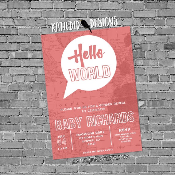 Adventure awaits baby shower invitation Hello world gender neutral reveal map rustic chic thought bubble sip see world coral pink 1481c