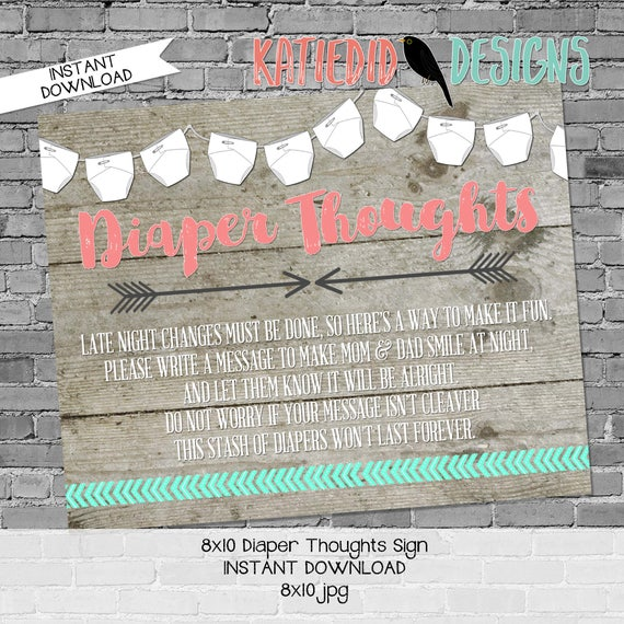 Diaper sign baby shower game 8x10 diaper thoughts advice arrow sprinkle mint green coral BOHO tribal rustic chic printable neutral 1417