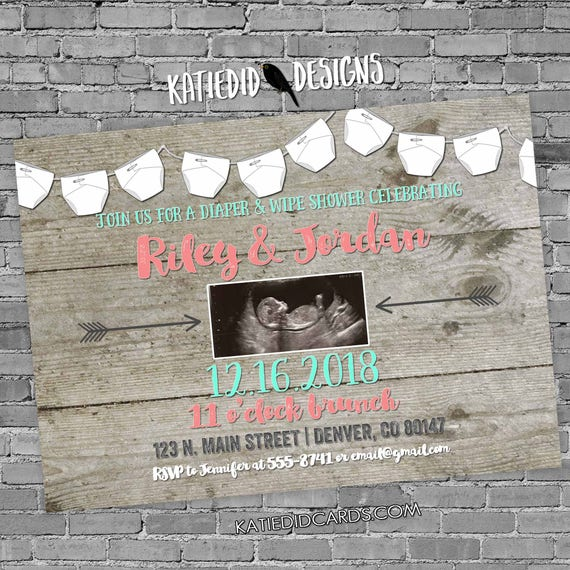 sonogram pregnancy announcement | rustic shower invitations gender neutral | mint coral invite | boho chic baby shower | 1417 Katiedid Cards