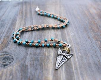 Boho Necklace, Boho Jewelry, Bohemian Necklace, Beaded Necklace, Arrowhead Necklace, Bohemian Jewelry, Seashell Necklace, Valentines Gift