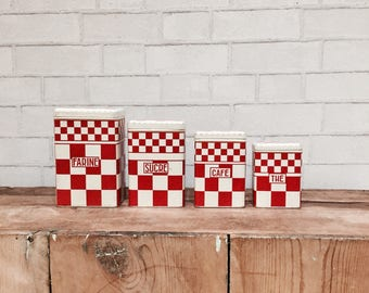 French Canister Set | Vintage | French Country | Cottage Style | Kitchen Decor | Red + White