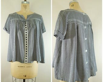 Vintage 1960s Maternity Top / Black and White Checks / Swing Top