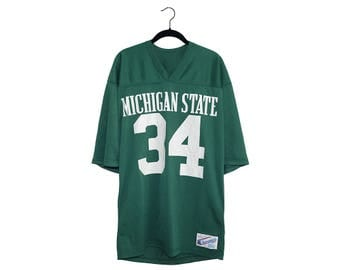 Vintage Michigan State MSU Football 80's Champion Spartan Green 100% Nylon Jersey, Made in USA - Large