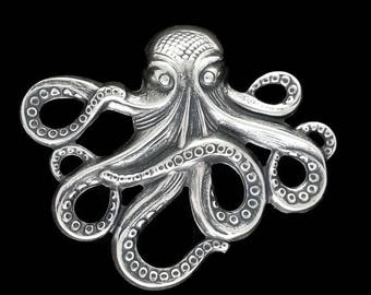 SALE 30% OFF Silver Plated Brass Octopus Kraken Cthulhu Stamping from Vintage Tooling Perfect for Steampunk Art Made in the USA Brass