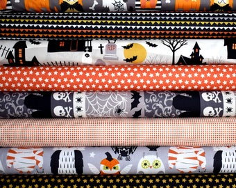 Boo Crew & Spooktacular Halloween Fat Quarter Bundle of 8 in Orange, Black and Gray by Maude Asbury for Blend Fabrics